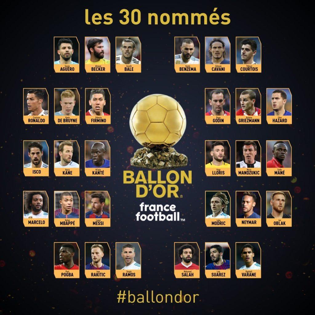 Pengumuman 30 Nama Nominasi Ballon d'Or 2019 - IDNSPORTSLIGA.COM
